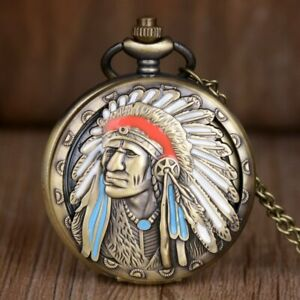 Pocket-Watch-Spring-Loaded-Lid-with-Indian-Head-Western-Apache-UG25