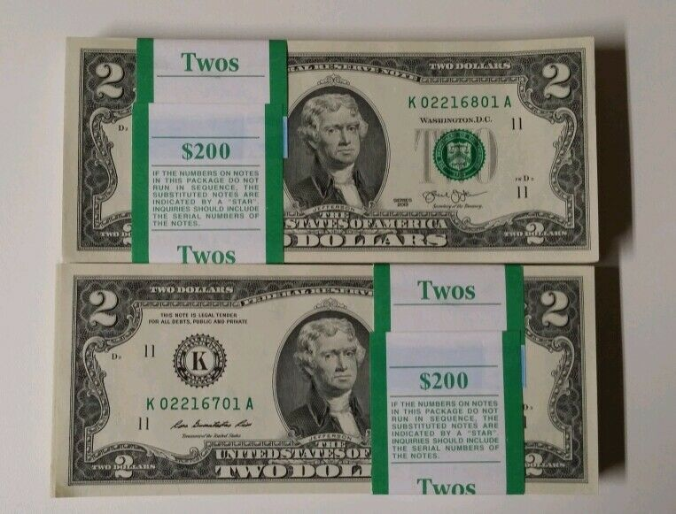 25 Mint Consecutive Serial Number Crisp $2 Note Uncirculated Two Dollar Bill