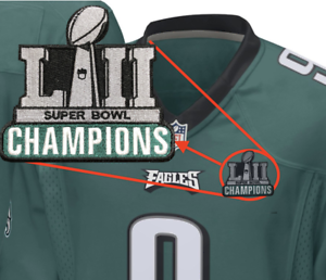100% authentic cf0d8 59510 Details about Philadelphia Eagles Champions Football Jersey Patch - 2018  Super Bowl Foles LII