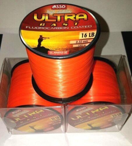 Asso ultra cast fluorocarbone enduit ligne de pêche-bobine 4oz-orange-tous b//s