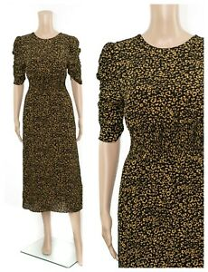 Ex-M-amp-S-Holly-Willoughby-Animal-Print-Manga-Fruncido-Midi-Vestido-De-Te