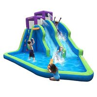 Magic Time Twin Falls Outdoor Inflatable Splash Pool Backyard Water Slide Park on sale