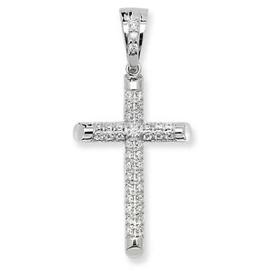 925 Sterling Silver Genuine Large CZ Cross Pendant 25mm40mm 6.30gr ... 5ba71c17709e