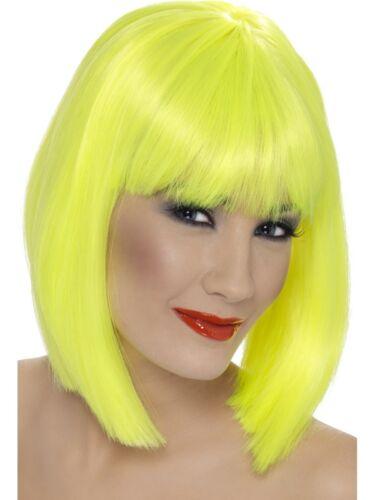 Ladies 80s 1980s 80/'s Glam Fancy Dress Wig Neon Yellow Womens Wig New