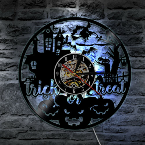 Halloween Day Decorative Wall Clock Modern Design With Color Changing LED Light
