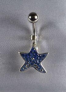 Piercing-de-nombril-Etoile-de-mer-Crystal-Bleu-montes-sur-argent-tige-316l