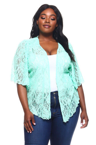 Womens Plus Size 5X Green Soft Lace Cardigan Bolero Shrug Top