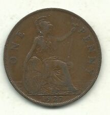 Very Nice Higher Grade 1927 Great Britain English Large Penny Cent-Agt216