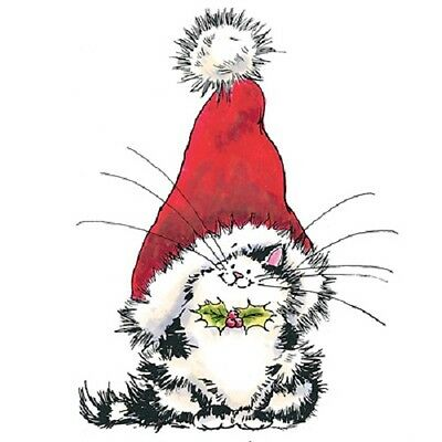 PENNY BLACK RUBBER STAMPS JOLLY CHRISTMAS KITTY NEW wood STAMP