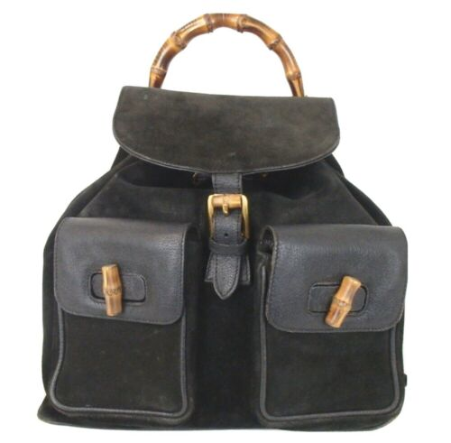 Authentic GUCCI bamboo Backpack - Daypack Suede L… - image 1