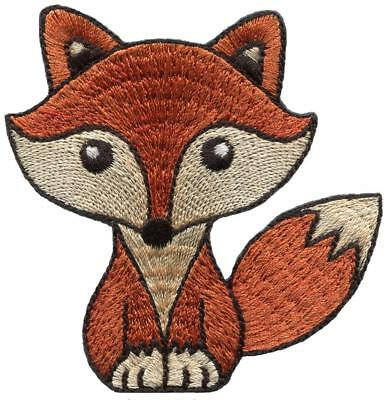 Brown fox embroidered applique iron-on patch S-1465