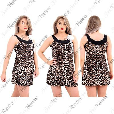 New Womens Leopard Paper Print Twin Balloon Sleeveless Broach Dress Summer Top
