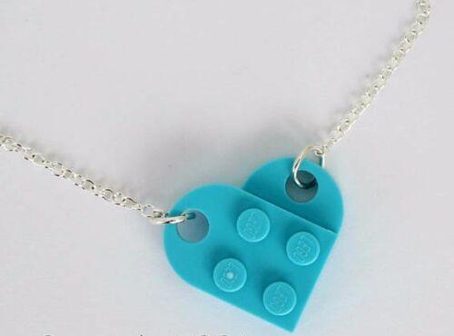 Funky Lego Heart Necklace Pendant Kawaii Cute Kitsch Emo Retro Christmas Gift