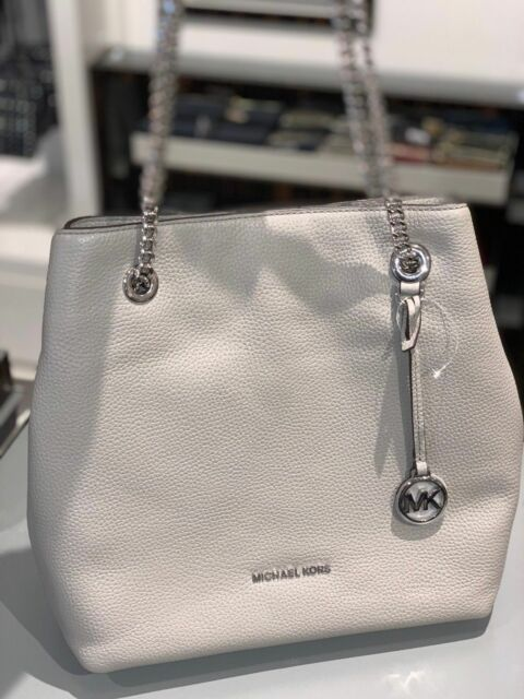 38dbd9f7612e MICHAEL KORS JET SET CHAIN LARGE SHOULDER TOTE PEBBLED LEATHER GREY BAG  NEWBURY