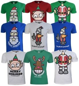 Mens-Xmas-Christmas-Party-T-shirts-Gift-Printed-Funny-Santa-Graphic-Tees-S-3XL