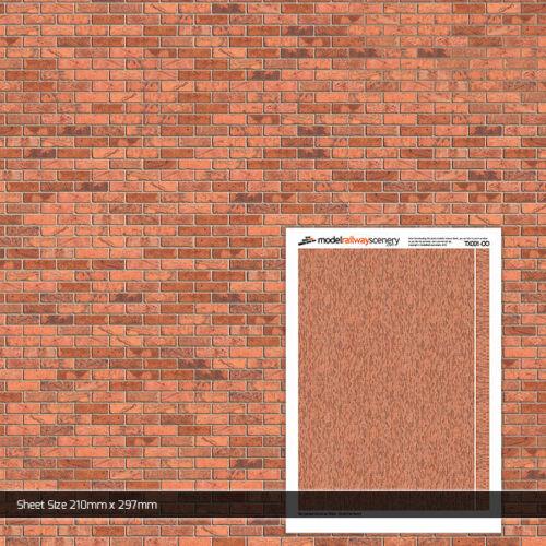 2 x Blätter Licht rot Backstein Papier 00 Gauge 1:76 Model Eisenbahn Gebäude