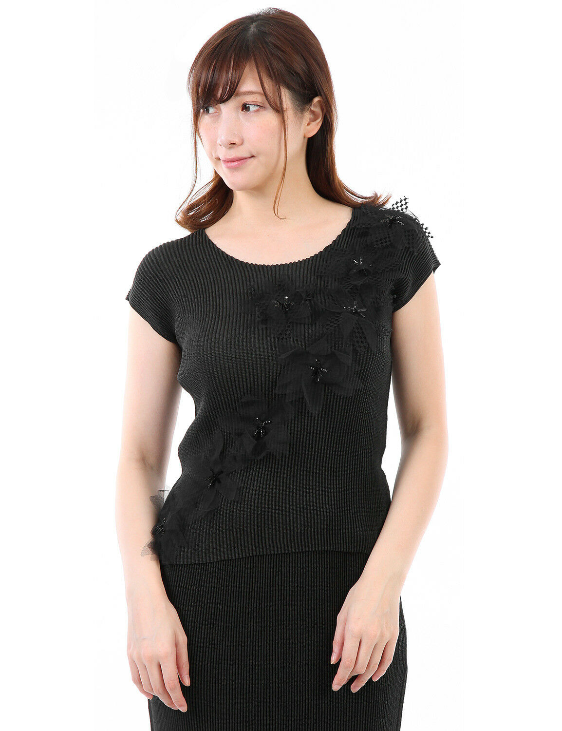 SHUTTLE PLEATS 3DFloral motif Embroiderot lace French sleeve Blouse Tops 2-20.