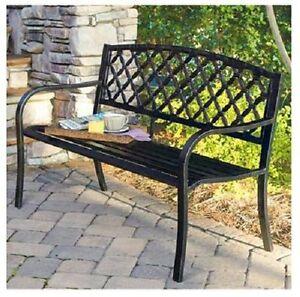 Lattice Panel Back Design Steel Garden Park Bench Ip Sv131fb 145087
