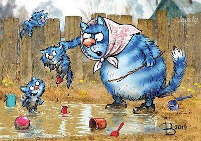 Modern 2018 Postcard Easter Art Blue Cats Kitty Kitten Puss Russian Zenyuk