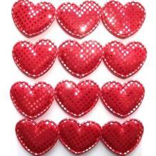 12 Chunky Padded Glitter Heart Embellishments Red New C1191