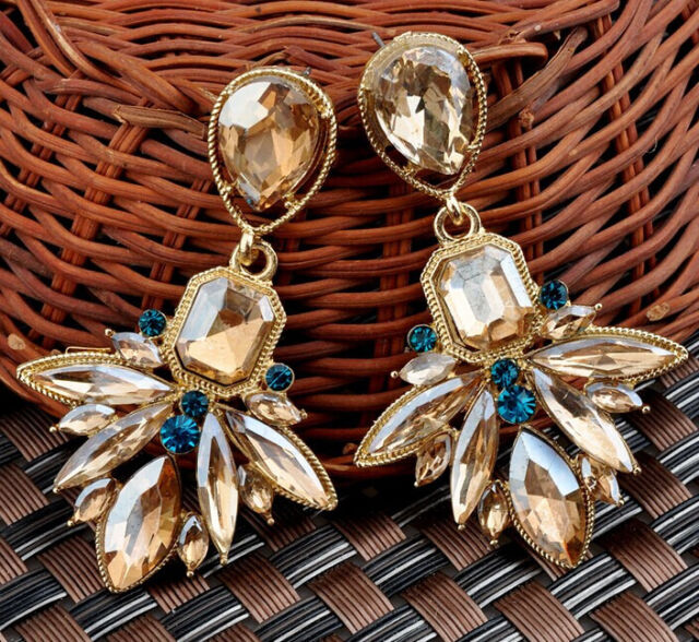 Hot Champagne Crystal Leaf Drop Geometry Flower Dangle Statement Stud Earring
