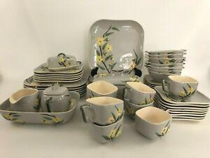 MCM Weil Ware MALAY BLOSSOM dinnerware set California pottery 1960s gray yellow