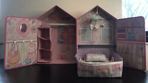 Zapf-Baby-Annabell-Born-Doll-Luxury-Bedroom-Bed-Wardrobe-Pink-Open-up-House-Toy