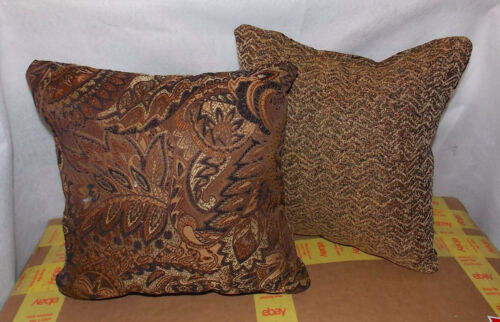 Pair of Dark Brown Beige Leaf Print Decorative Throw Pillows  12 x 12