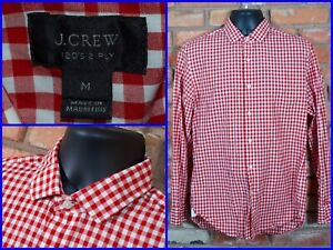 J-CREW-Ludlow-Red-Gingham-Btn-Front-120s-2-Ply-Dress-Shirt-For-Work-Mens-Med