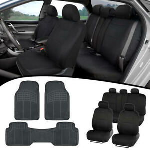 Full Set Black Seat Covers For Car Auto Suv Polyester Cloth W Rubber Floor Mats Ebay