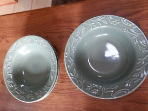 Libbey-Wheat-Embossed-Large-Rim-Soup-Pasta-4-Bowls-Green