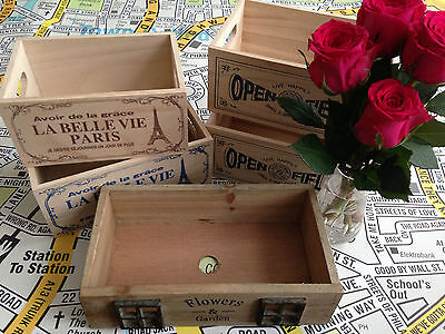 Vintage Style Small Wooden Crate, Box - 10p extra postage for each additional