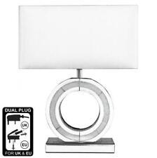 Silver Mirror Diamond Crush  Small /'O/' Lamp  With Faux Silk White Shade