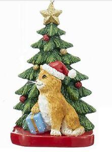 Kurt Adler Tabby Cat With Mouse Christmas Ornament Orange Tabby Cat Ornament NOS