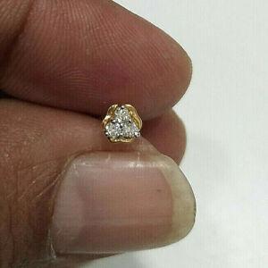 Diamond Nose Pin Screw Back Igi Certified Round Diamond Solid 18k