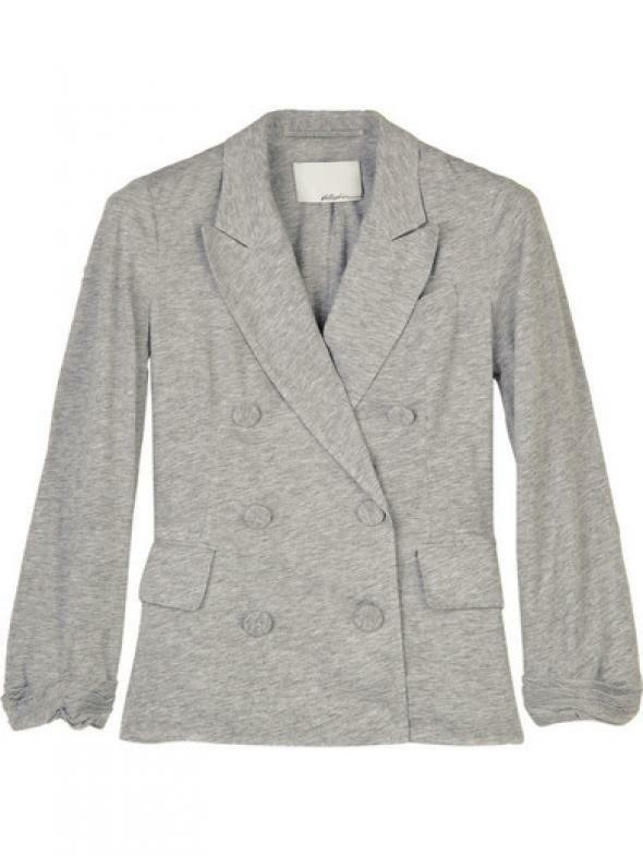 3.1 Phillip Lim grey jersey cotton double breasted blazer size M