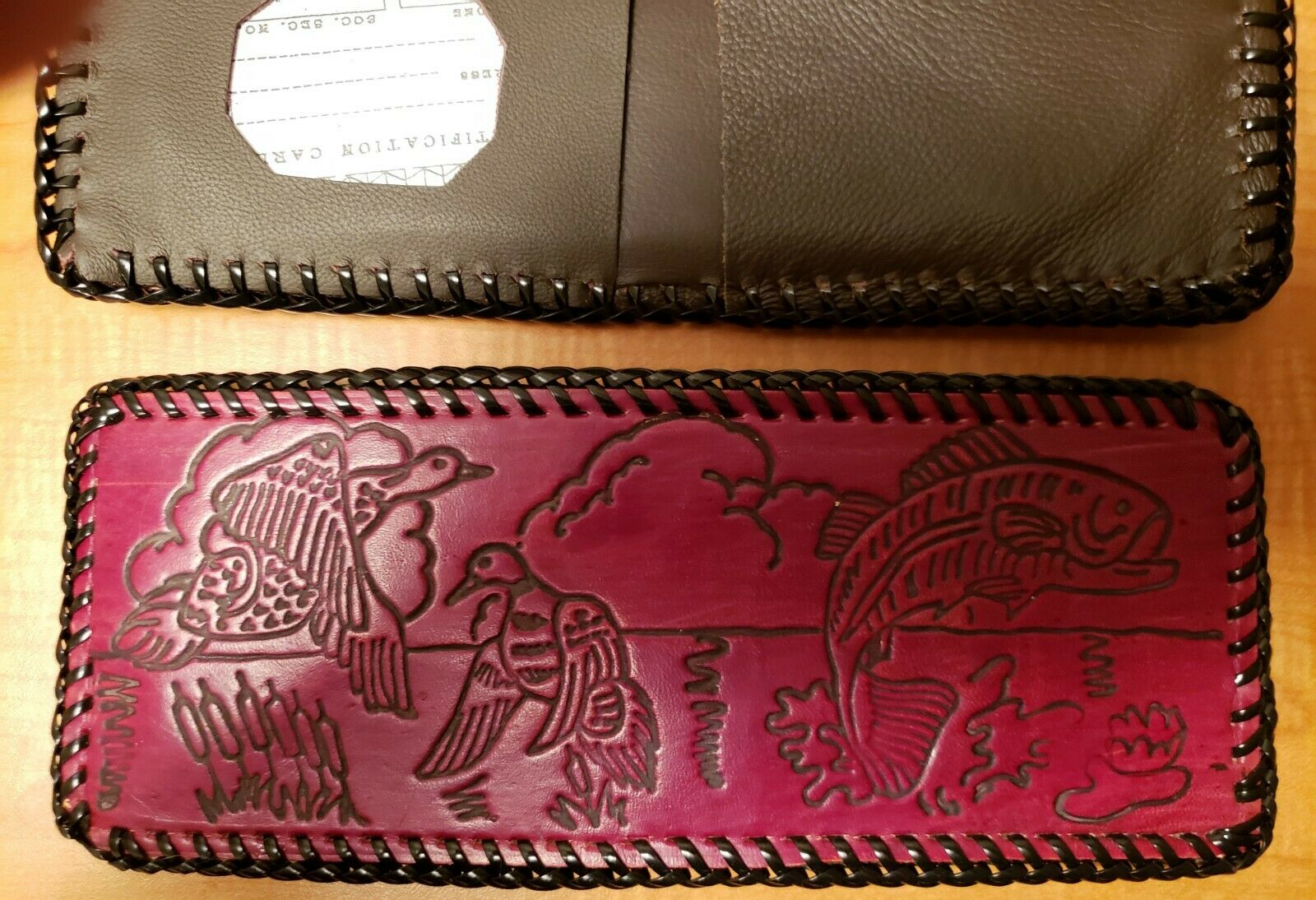 Bass and Ducks - Prison made Bi-fold USA Made Beautiful Leather Laced Wallet