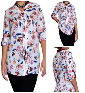 Ladies-FLORAL-Blouse-Top-Tunic-Size-8-10-12-14-16-18