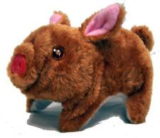 BLACK FUZZY WALKING OINKING TOY MOVING PIG play pet battery operated LIGHT EYES