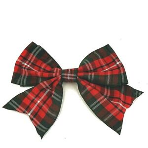 Tartan-Giant-Double-Bows-Ribbon-Bows-Tails-120mm-4-and-half-wide-Christmas