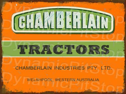 Logotipo de tractores 30x40cm Chamberlain Australia Occidental signo de estaño rústico o calcomanía