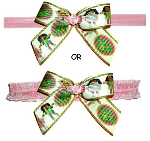 CABBAGE PATCH KIDS Baby Stretch Elastic Headband Hair Bow Clip Ribbon Vintage