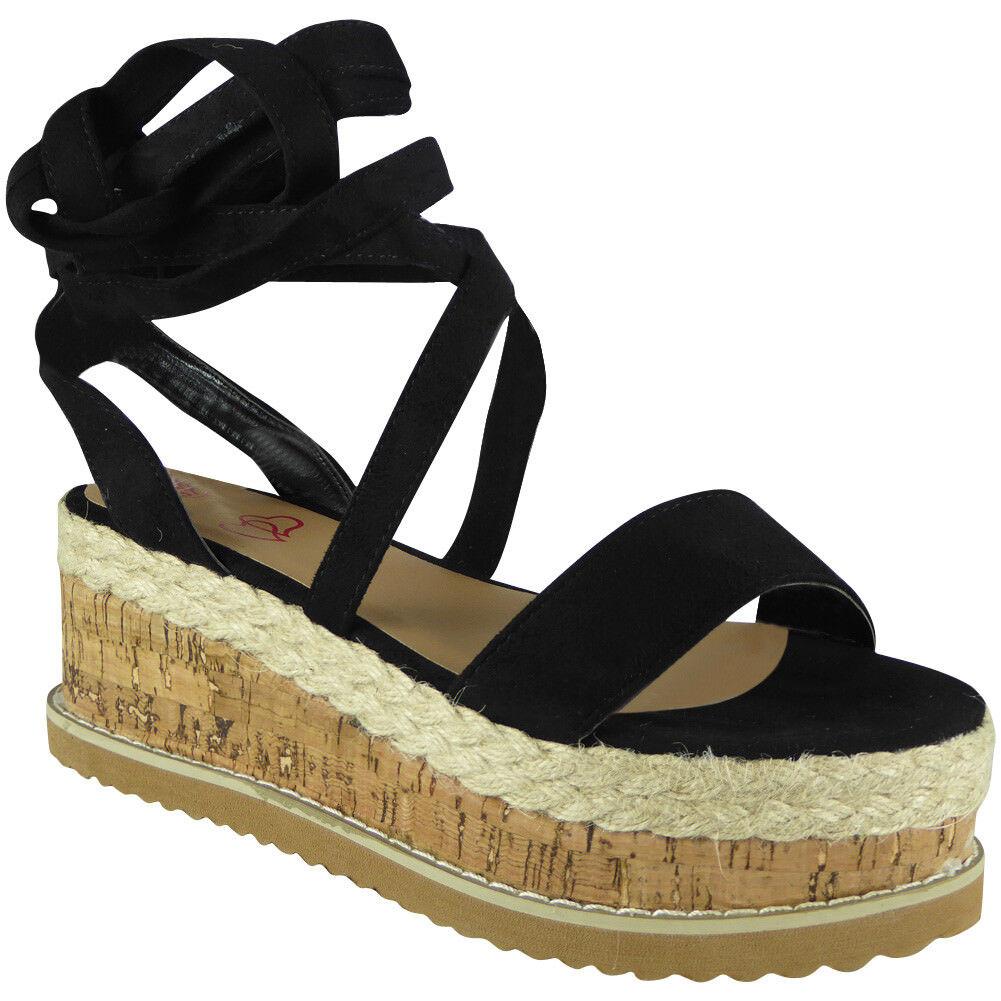 fe3066d01ce Womens Ladies Lace Up Tie Up Espadrilles Platform Shoes Wedge Sandals Size
