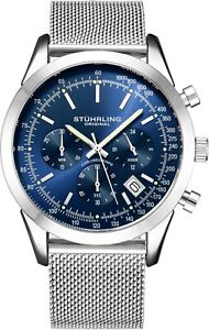 Stuhrling-Men-039-s-Japan-Quartz-Chronograph-Stainless-Steel-Mesh-Band-Watch-10-ATM