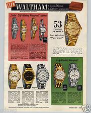 1960 PAPER AD 4 PG Waltham Wrist Watch Super Slim Skindiver Rototron 53 Jewels