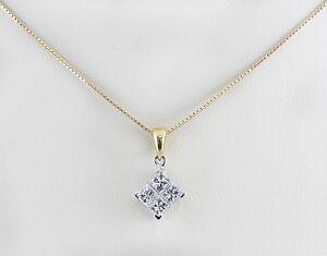 18k yellow white gold invisible set princess square diamond pendant image is loading 18k yellow white gold invisible set princess square aloadofball Images