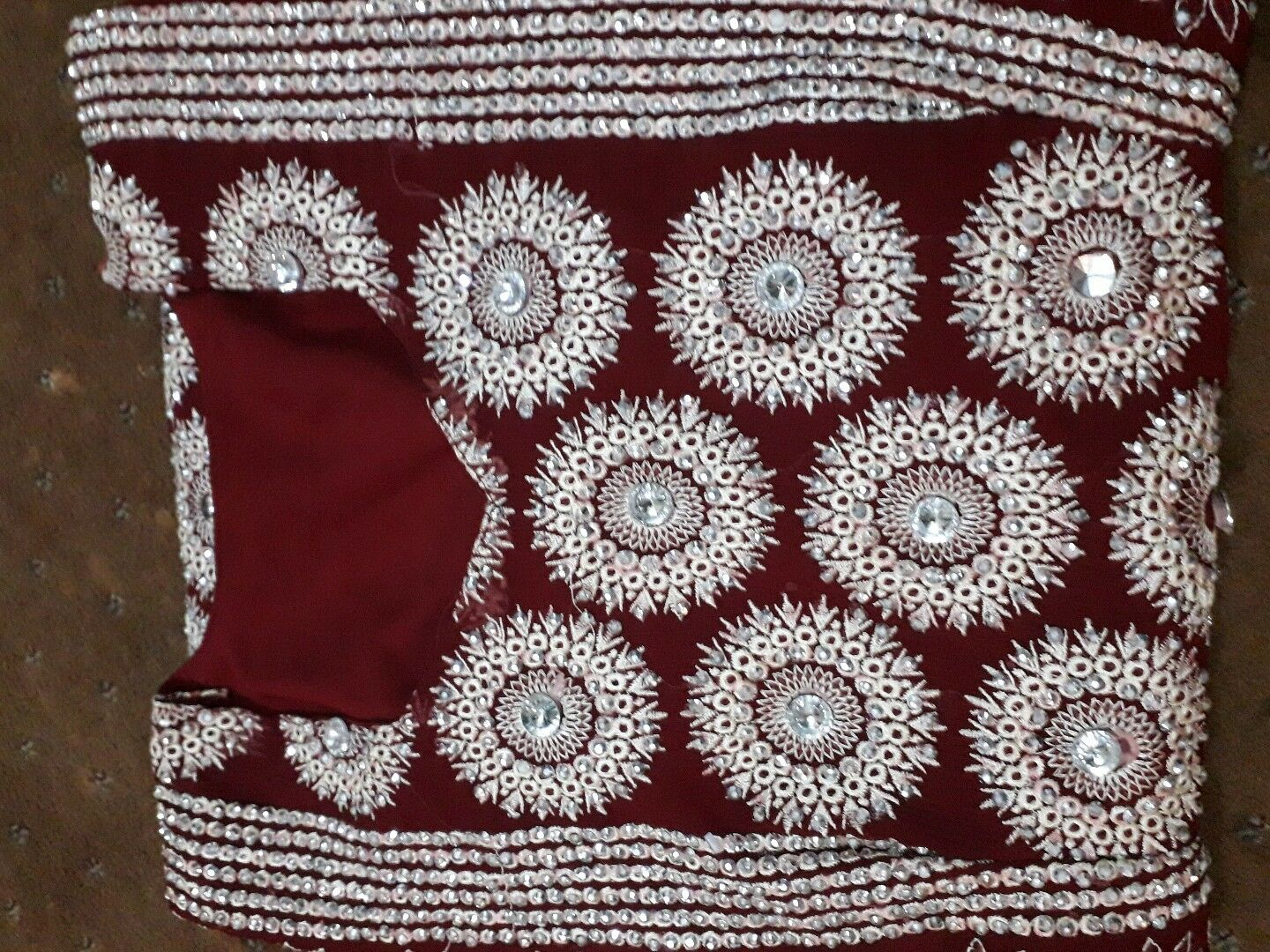 Red And Maroon Indian Pakistani Wedding Dress With Nice Flower Designs