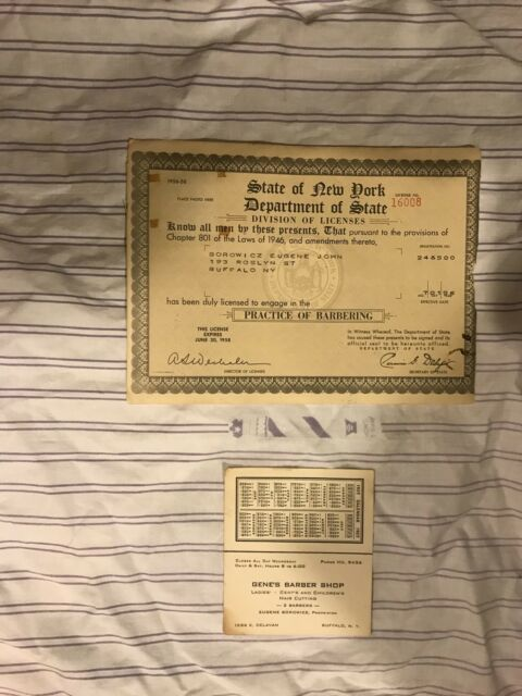 Vintage 1950s Original Barber License Business Card Calendar