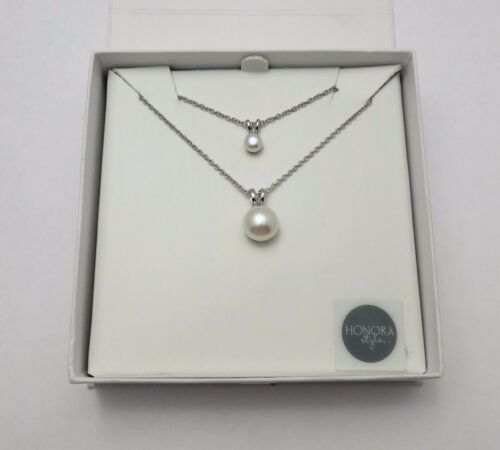 New Honora Freshwater White Pearl Set Mother & Daughter Necklace Silver