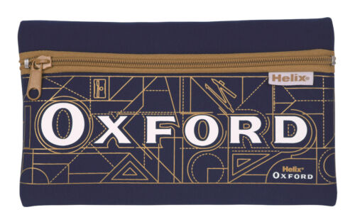 Helix Oxford Pencil Cases Neoprene Zipped Pockets Education School Stationery